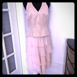David's Bridal Dress with Shawl Sz 12 Pink